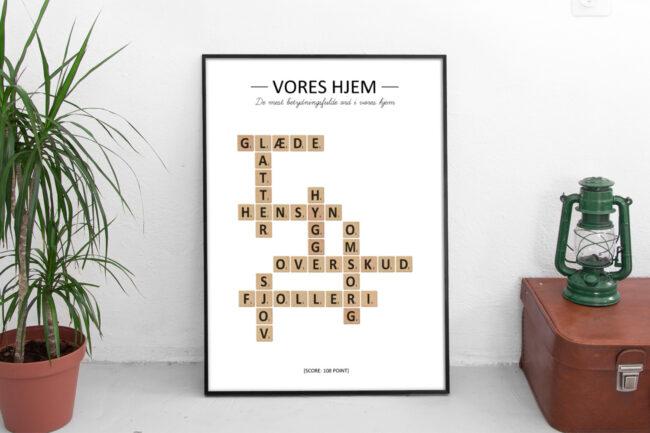 Scrabble-plakat fra Designomaten