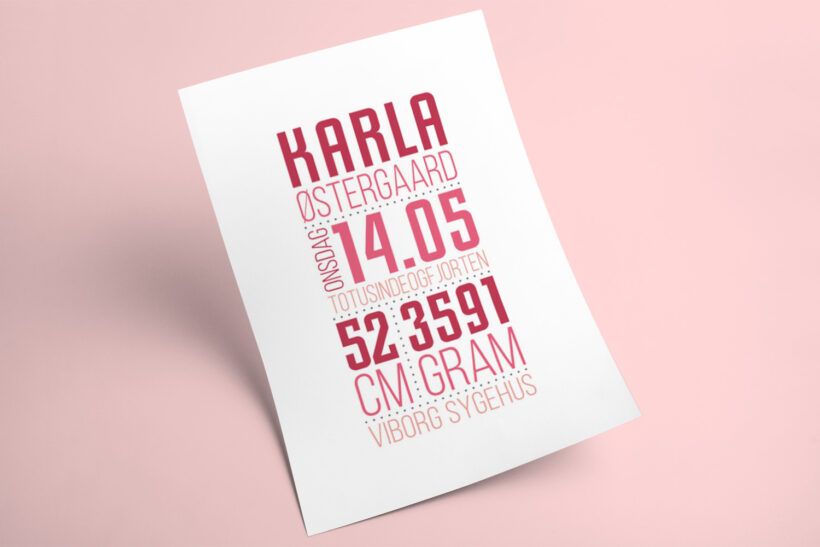 Fødselstavle fra Designomaten