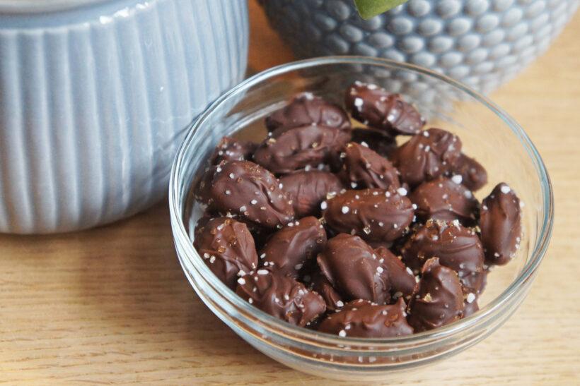Saltede chokolademandler opskrift