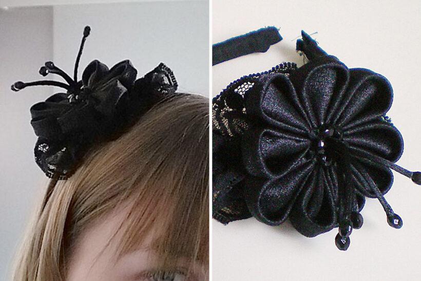 Hårbånd med sort blomst