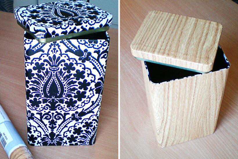 Metalkasse med træbeklædning