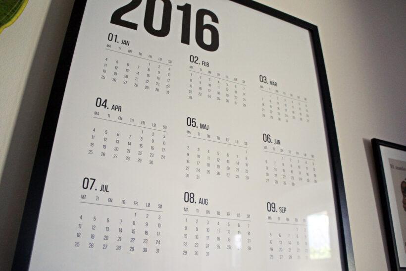 2016 kalender plakat