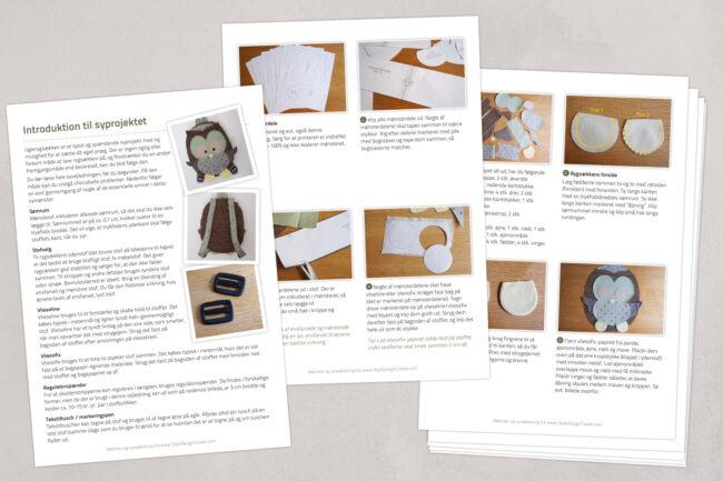 DIY symønster på uglerygsæk
