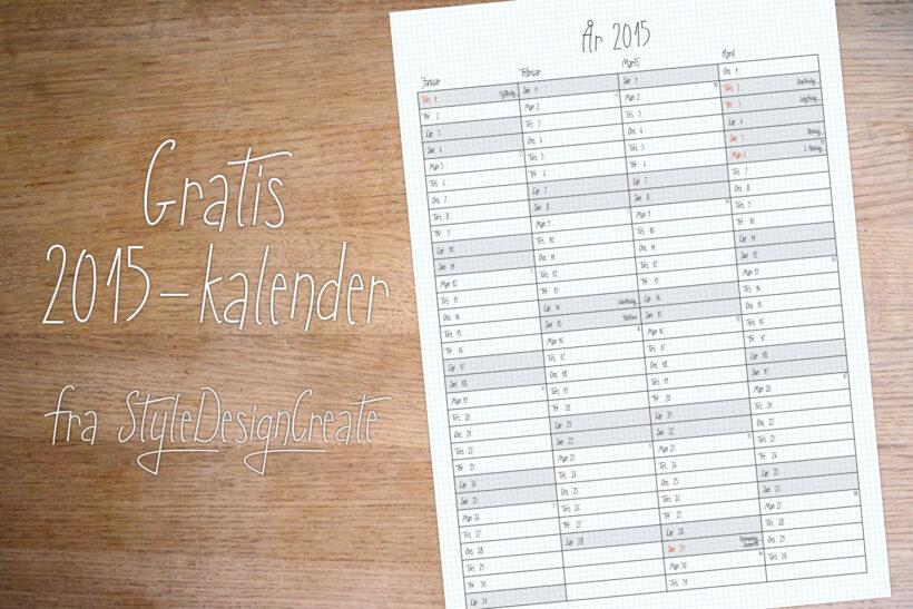 Gratis print selv 2015-kalender
