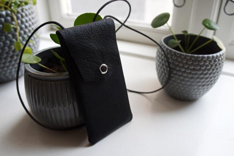 Mobil-taske i læder