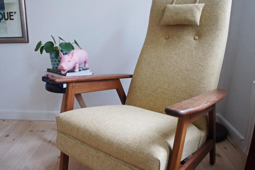 Ompolstring af gammel retro lænestol