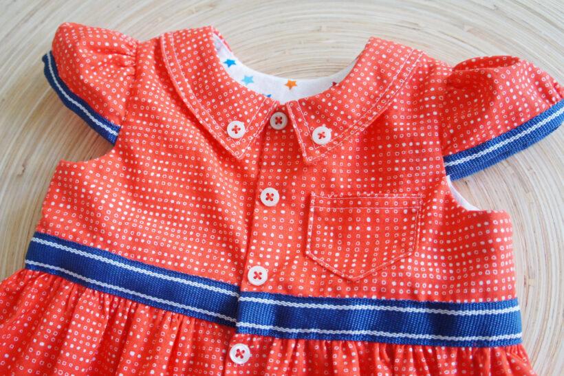 Rød button down skjorte kjole til baby