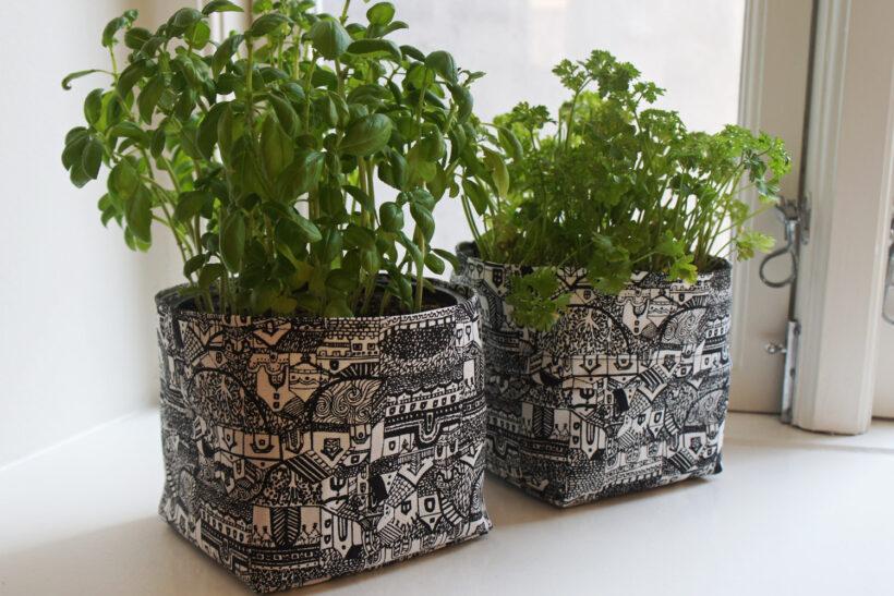 DIY urtepotteskjulere i stof1